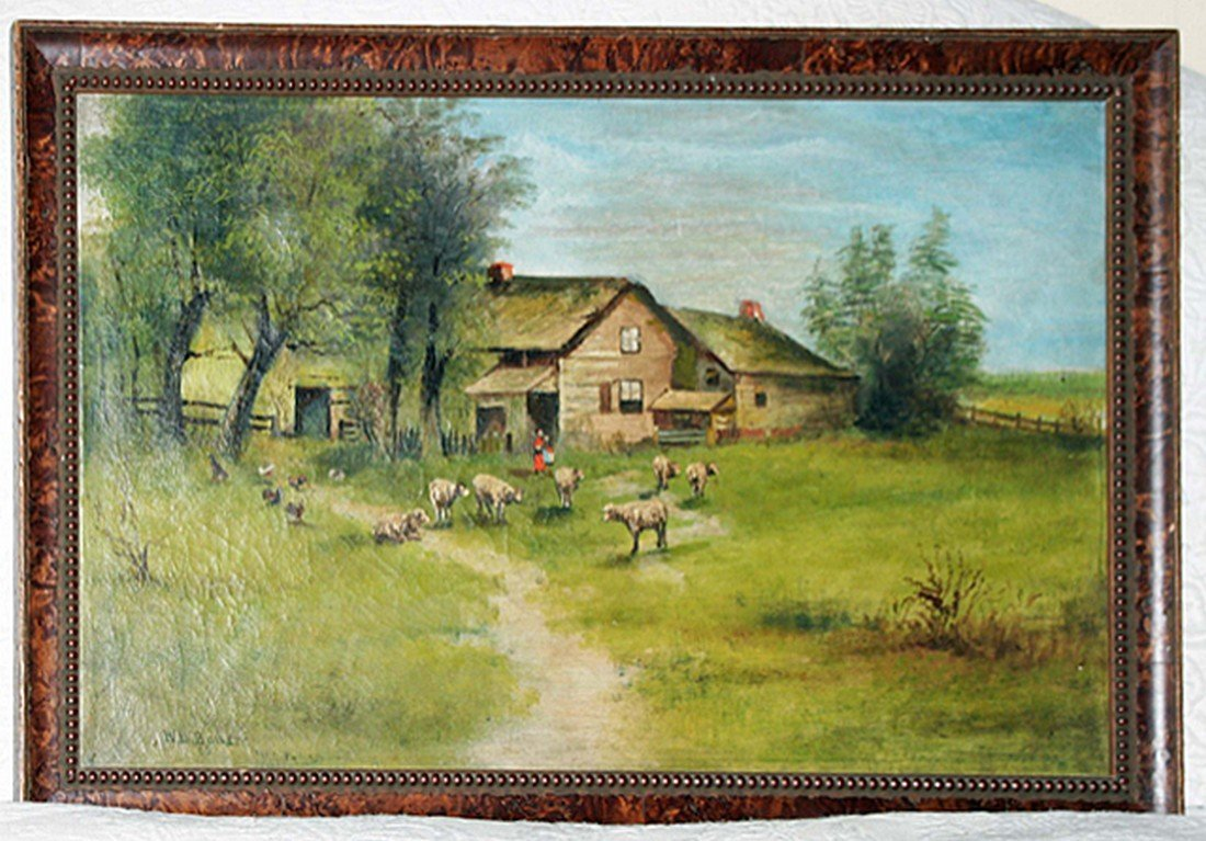 SIGNED Farmhouse Scene Painting