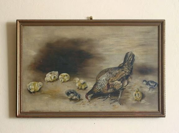 Painting of a Chicken with her Chicks