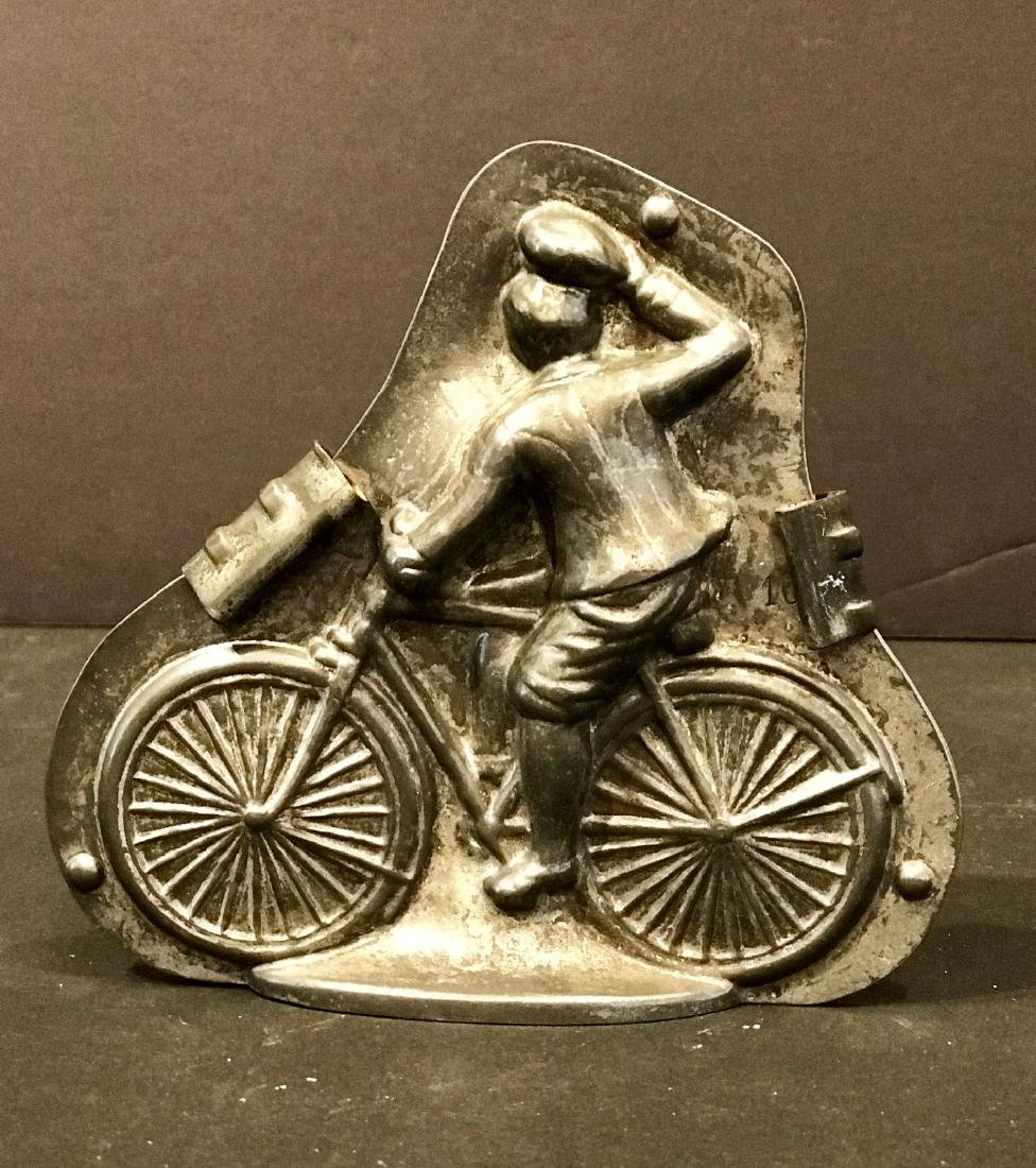 Early Cyclist Tipping Hat Chocolate Mold, C. 1900 - 2