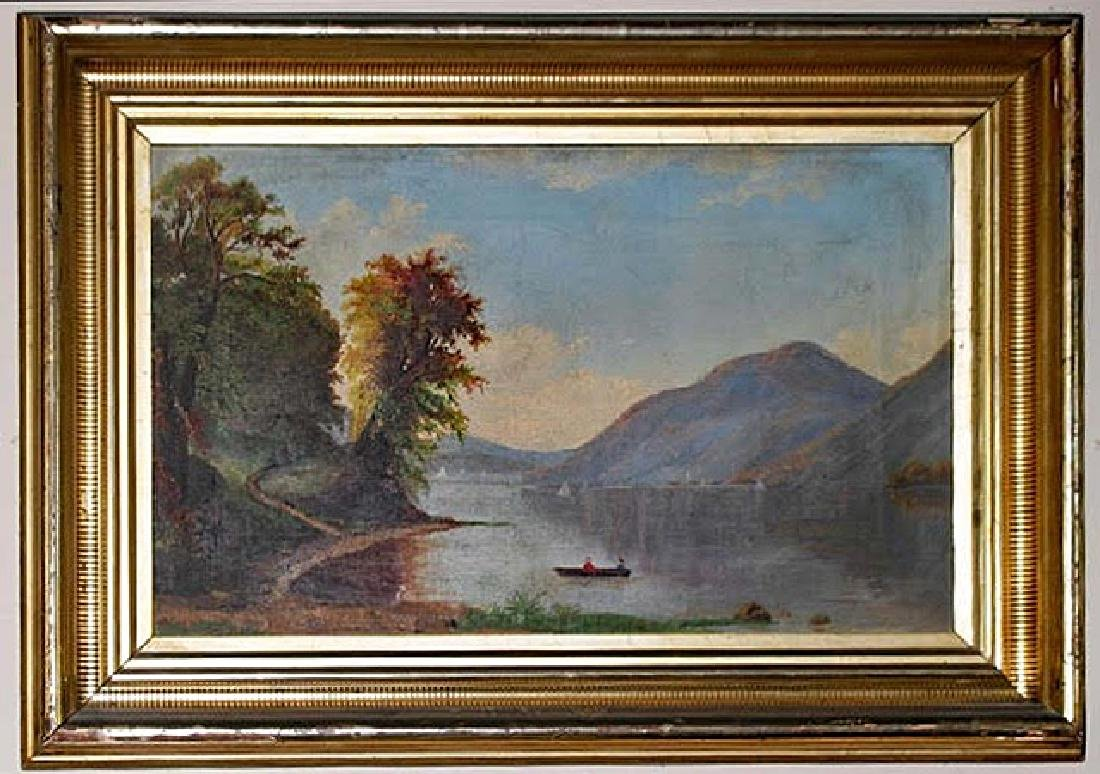 Lakeside Scene Painting 19th Century