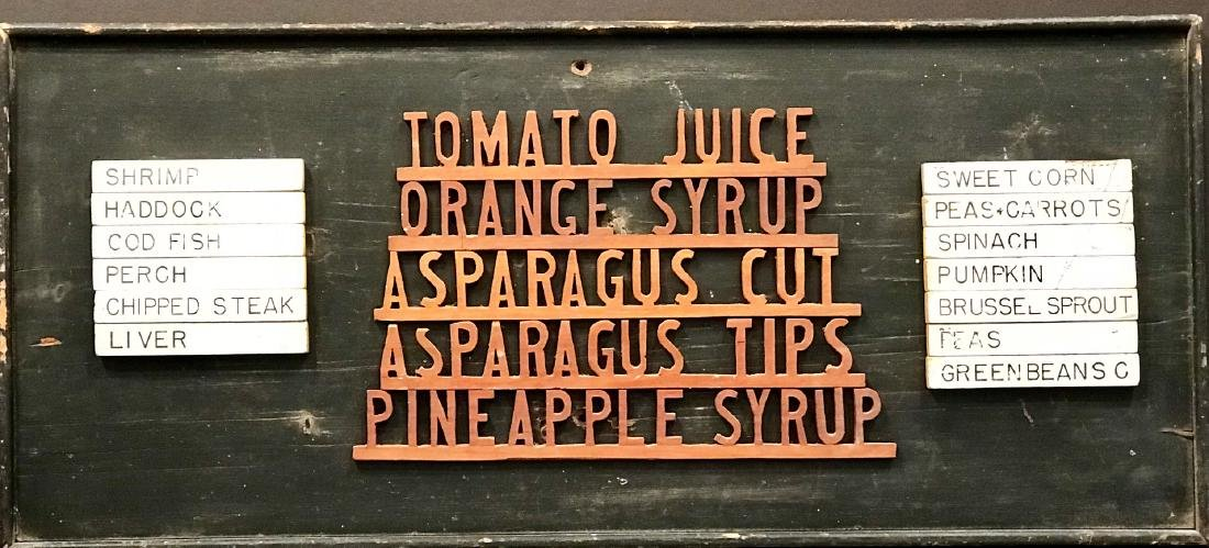 Make-do Country Market Menu Sign, Early 20th Century