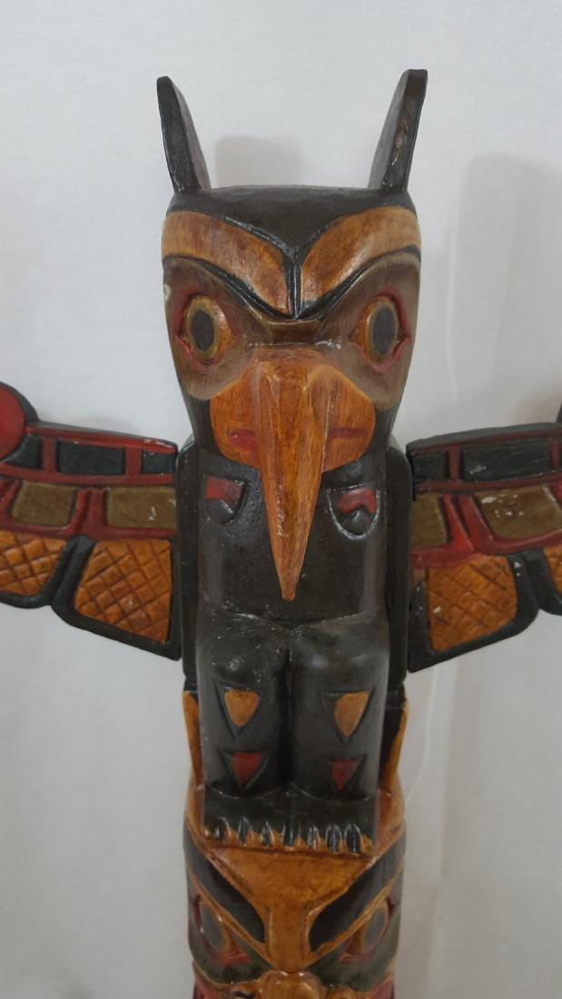 Northwest Coast Large Painted Totem Pole Ca 1950's - 2