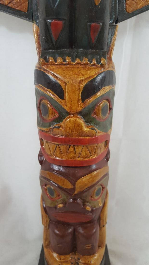 Northwest Coast Large Painted Totem Pole Ca 1950's - 3