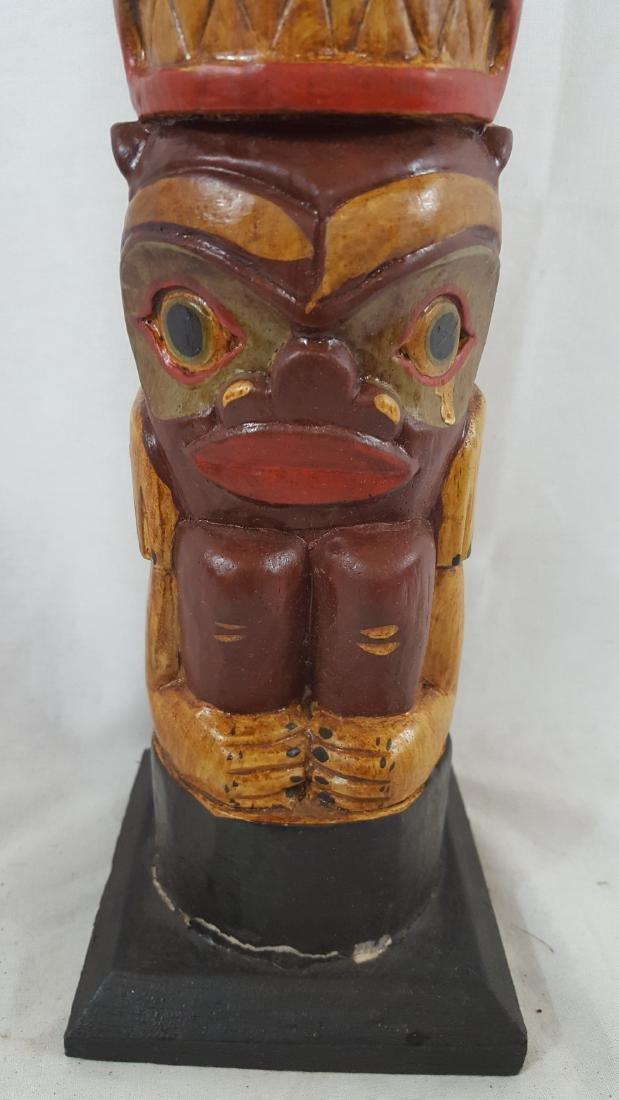 Northwest Coast Large Painted Totem Pole Ca 1950's - 4