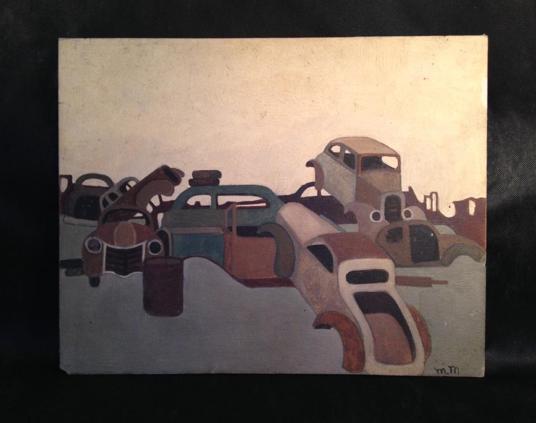Oil on Canvas 1940's Painting of Cars