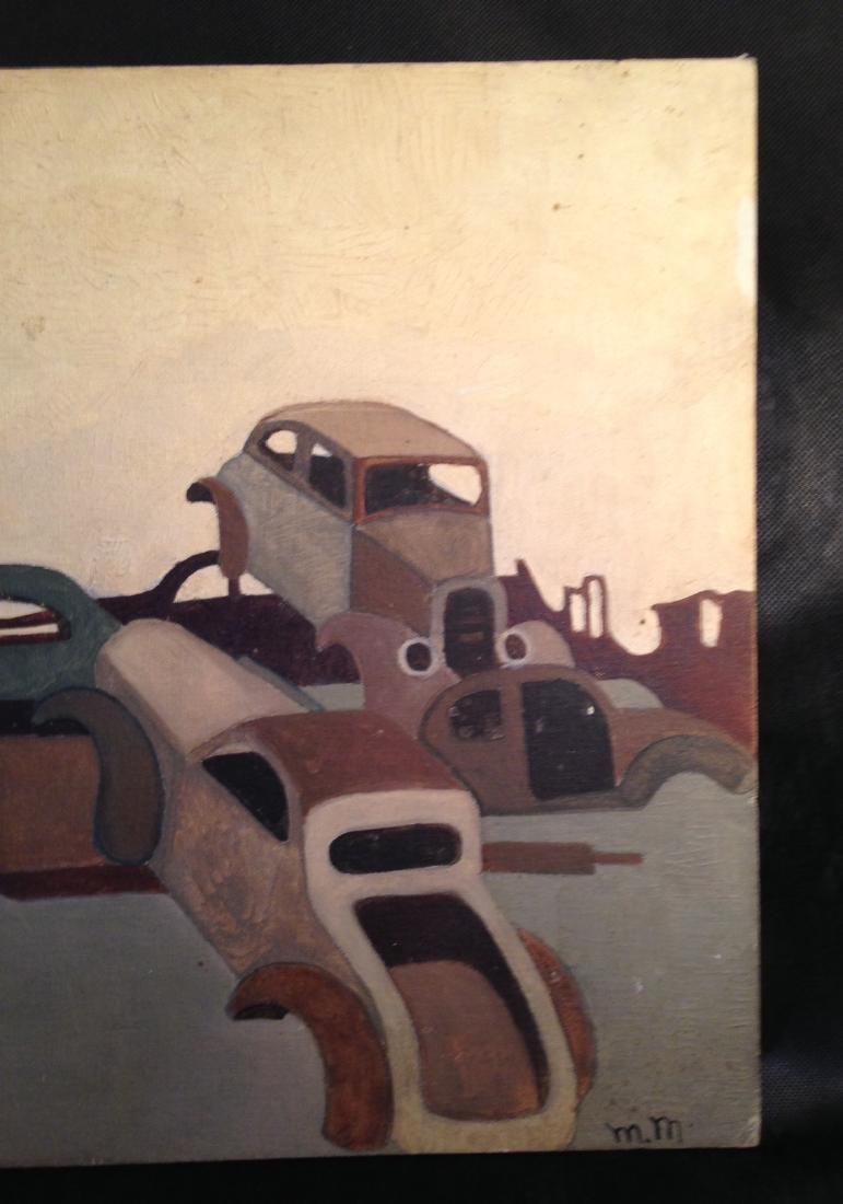 Oil on Canvas 1940's Painting of Cars - 2