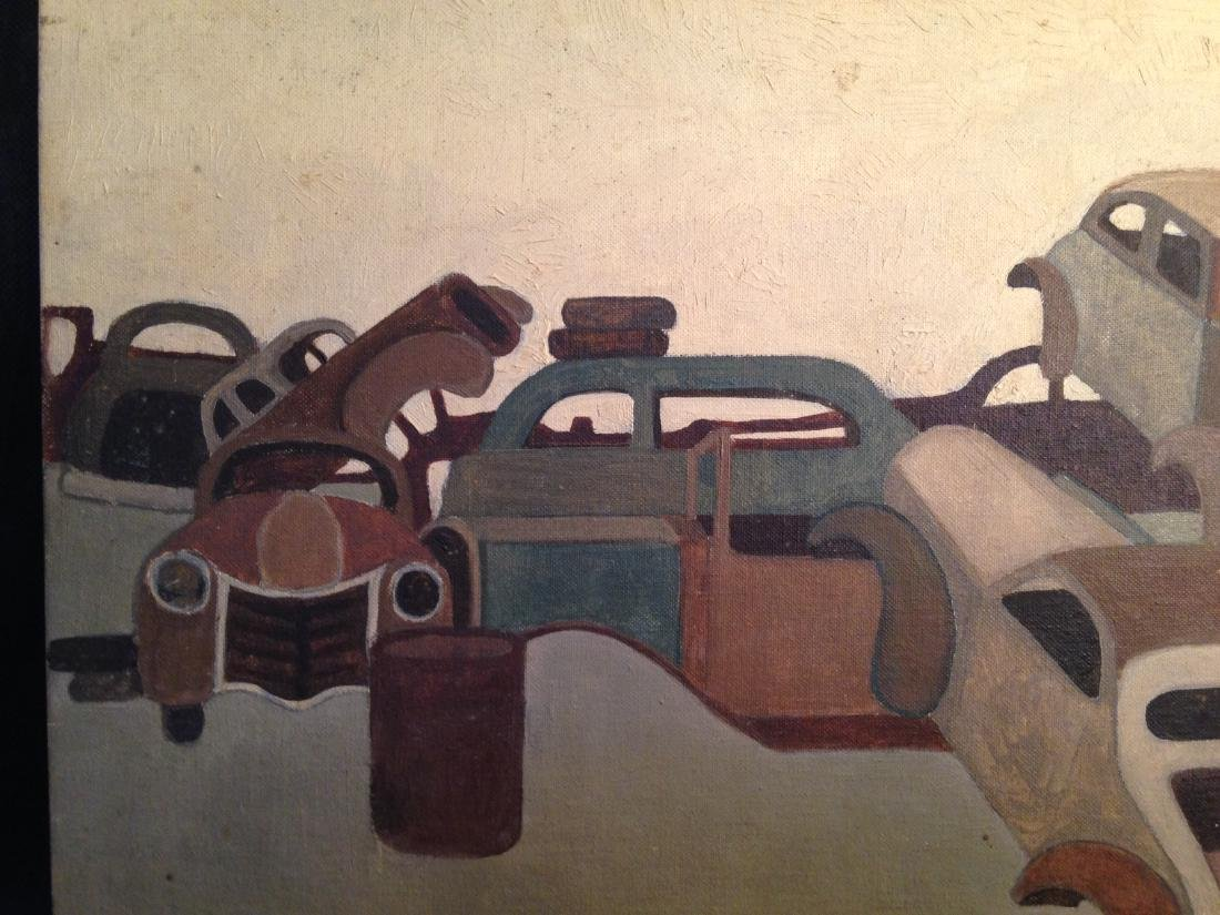 Oil on Canvas 1940's Painting of Cars - 4