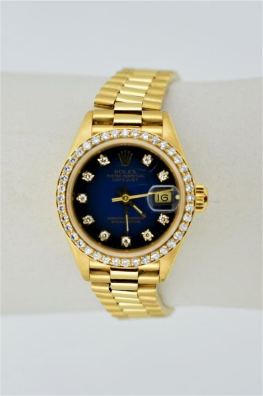 Ladies Rolex Oyster Perpetual 18k Yellow Gold Watch