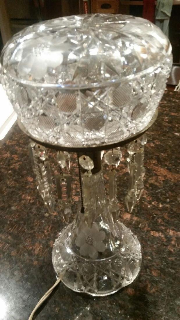 Vintage Cut Glass Electric Lamp Mushroom Prisms