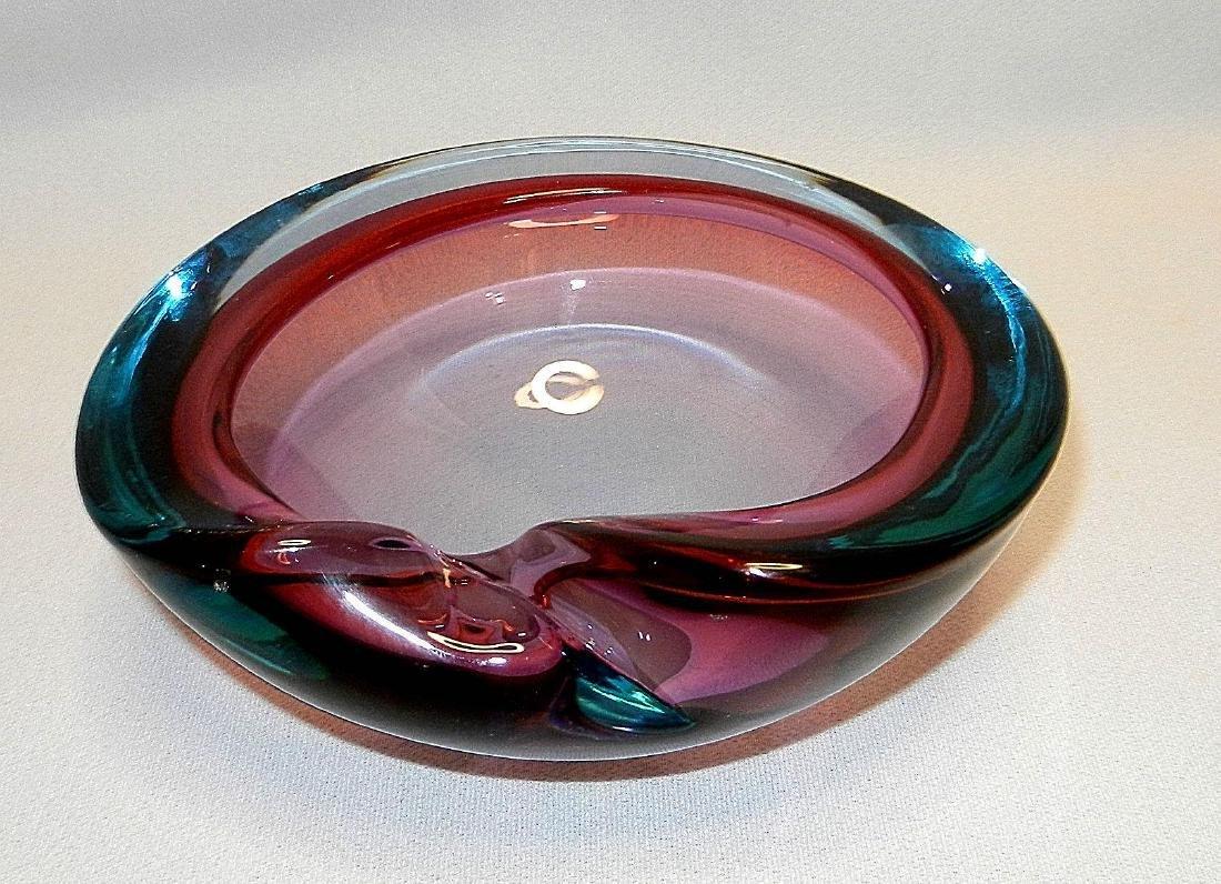 Vintage Mid-Century Murano Tri Color Art Glass Bowl - 2