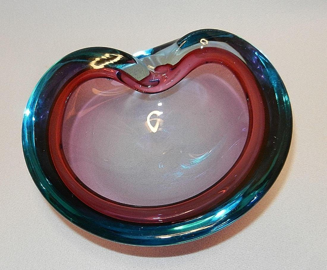 Vintage Mid-Century Murano Tri Color Art Glass Bowl - 4
