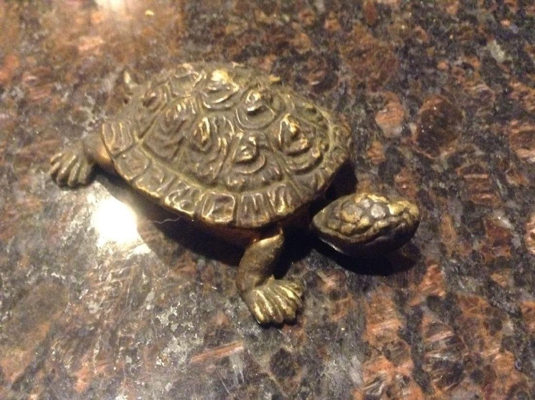 Figural Brass Turtle Tie Clip Holder Vintage