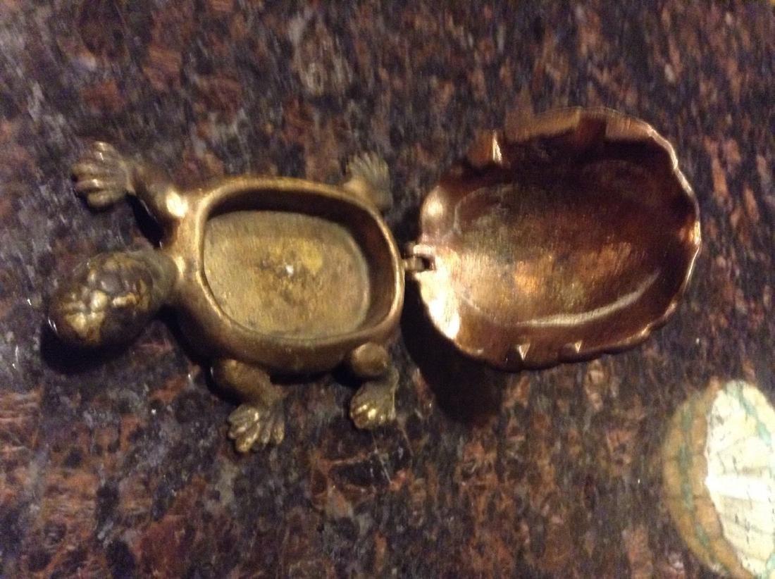 Figural Brass Turtle Tie Clip Holder Vintage - 3
