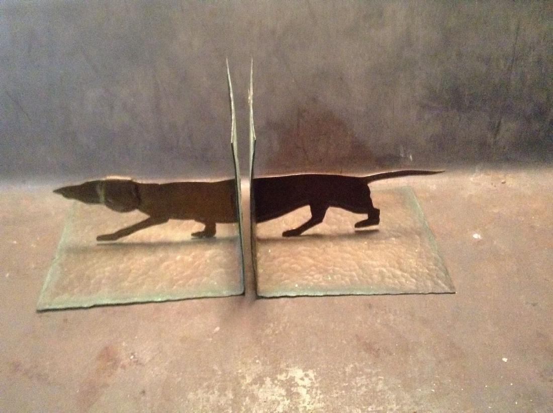 Hammered Copper Dachshund Dog Bookends. Rare Design