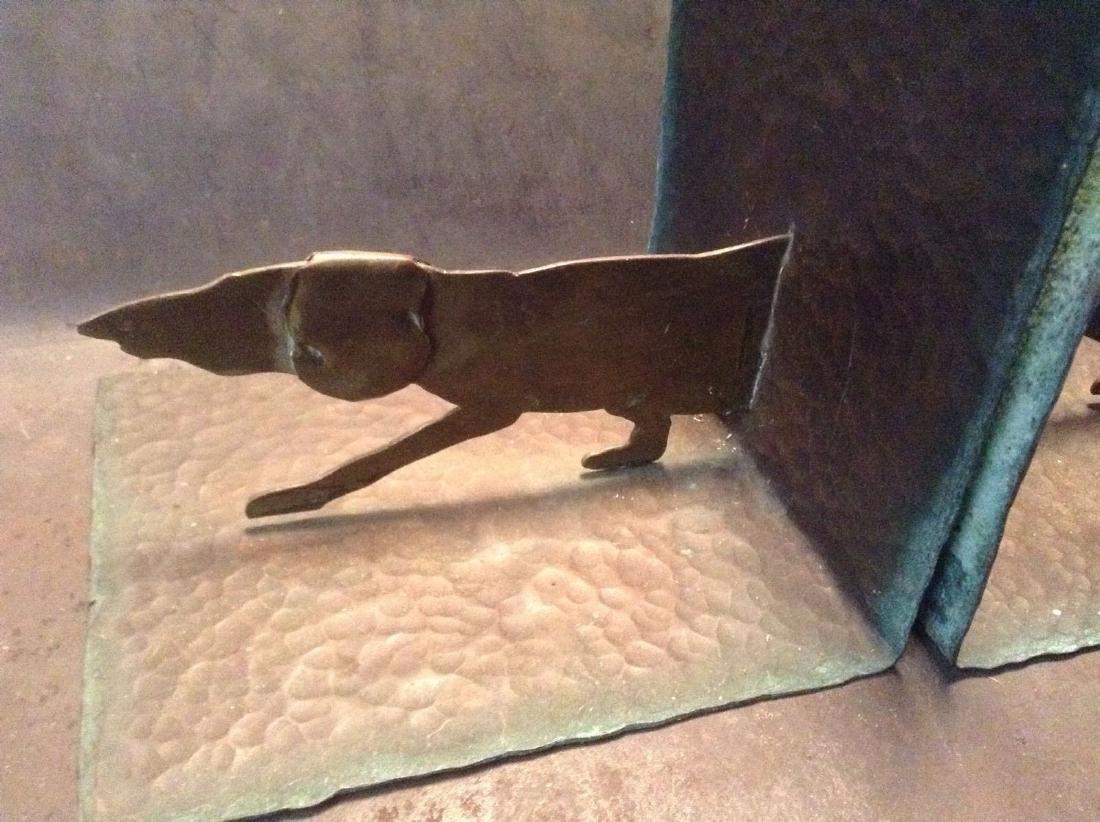 Hammered Copper Dachshund Dog Bookends. Rare Design - 2