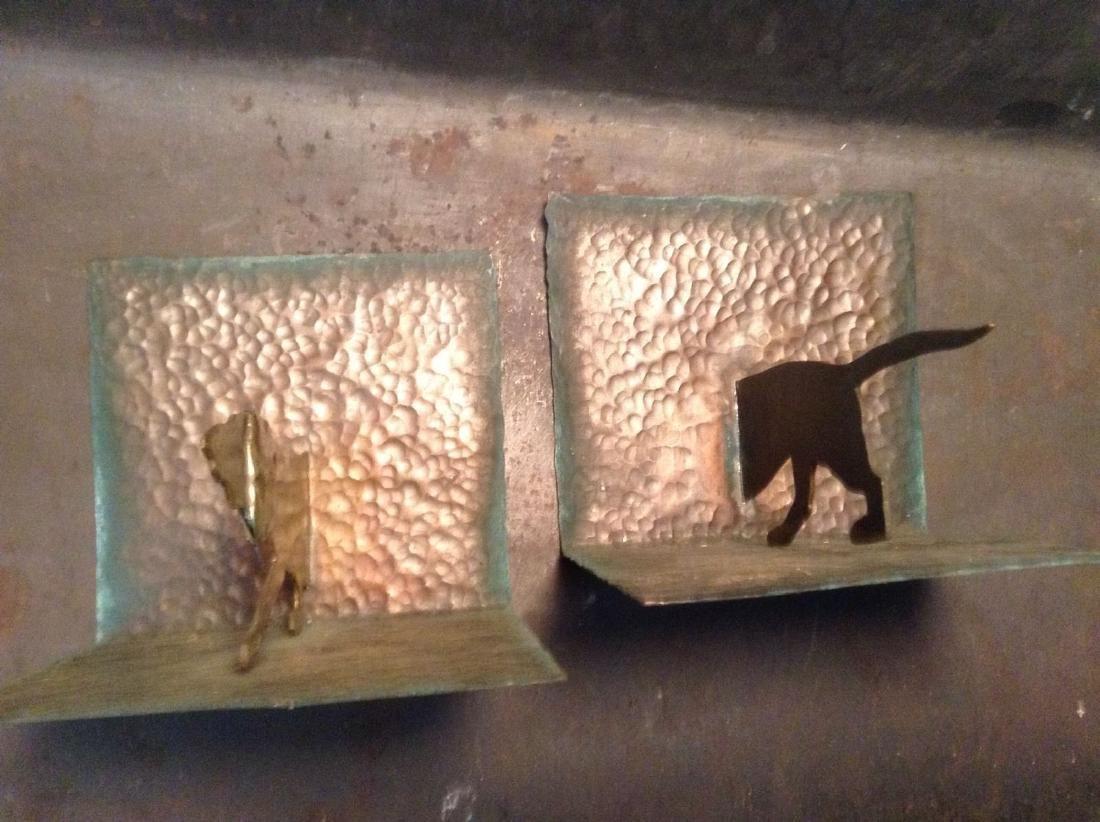 Hammered Copper Dachshund Dog Bookends. Rare Design - 3