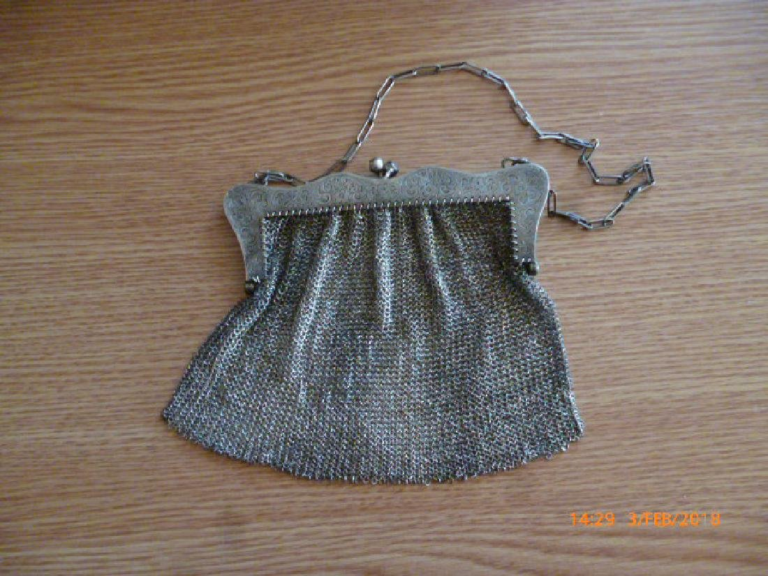 English or German Art Nouveau Sterling Silver Bag