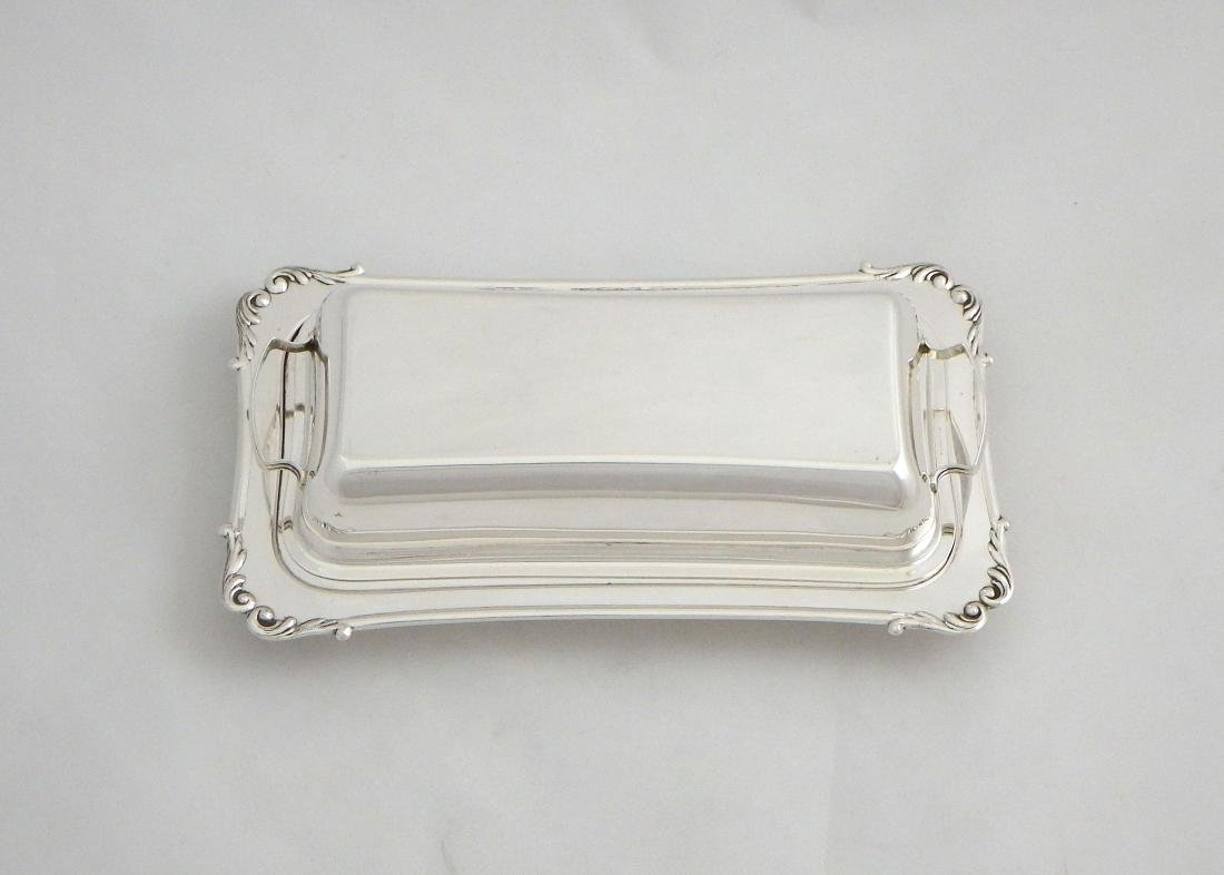 Sterling Silver Butter Dish with Cover & Glass Liner - 3