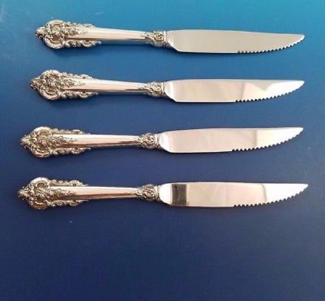 Set of 4 Wallace Grande Baroque Silver Steak Knives