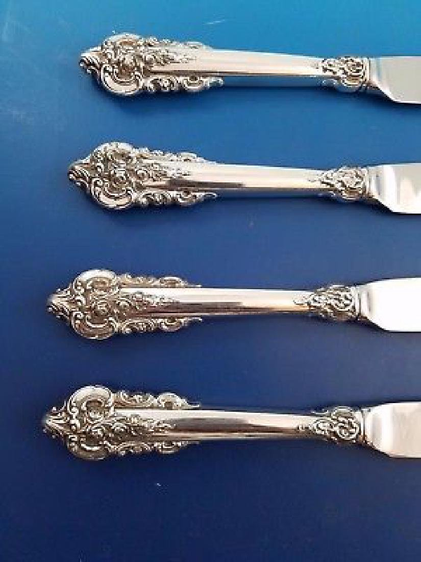 Set of 4 Wallace Grande Baroque Silver Steak Knives - 2