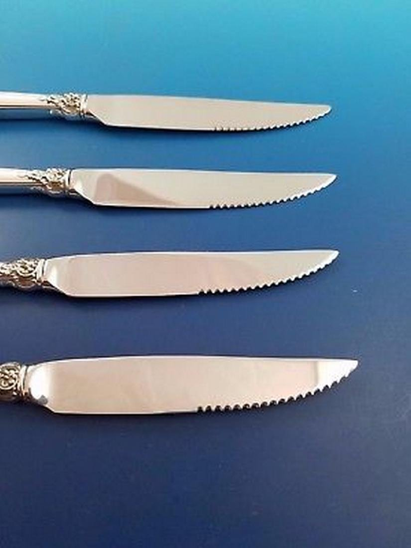 Set of 4 Wallace Grande Baroque Silver Steak Knives - 3