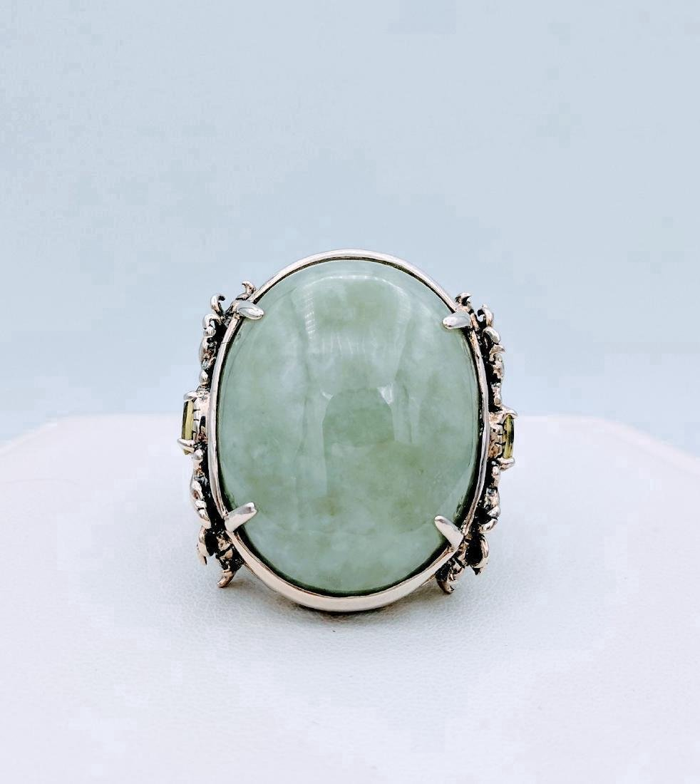 Sterling Silver Jade Peridot Figural Dragon Ring .42ctw