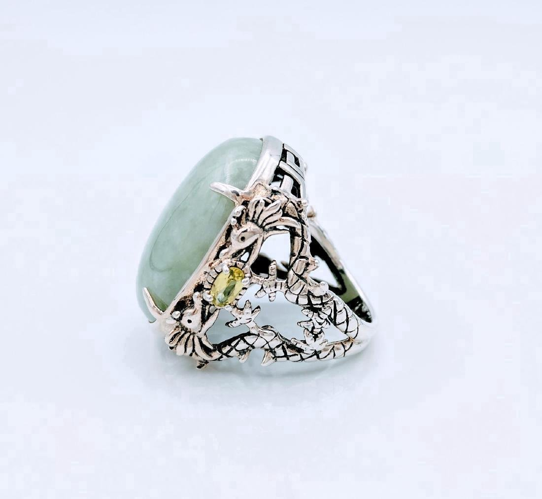 Sterling Silver Jade Peridot Figural Dragon Ring .42ctw - 2