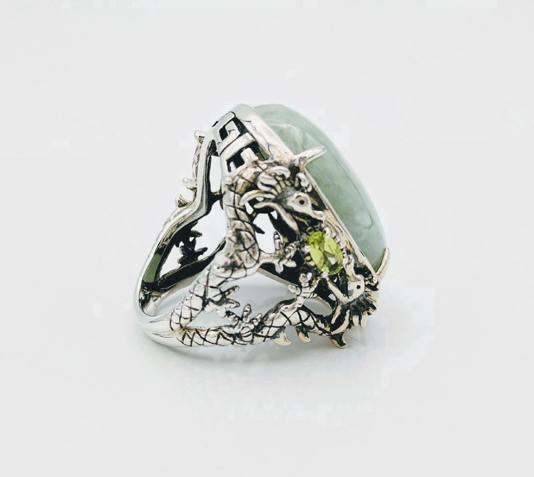 Sterling Silver Jade Peridot Figural Dragon Ring .42ctw - 3