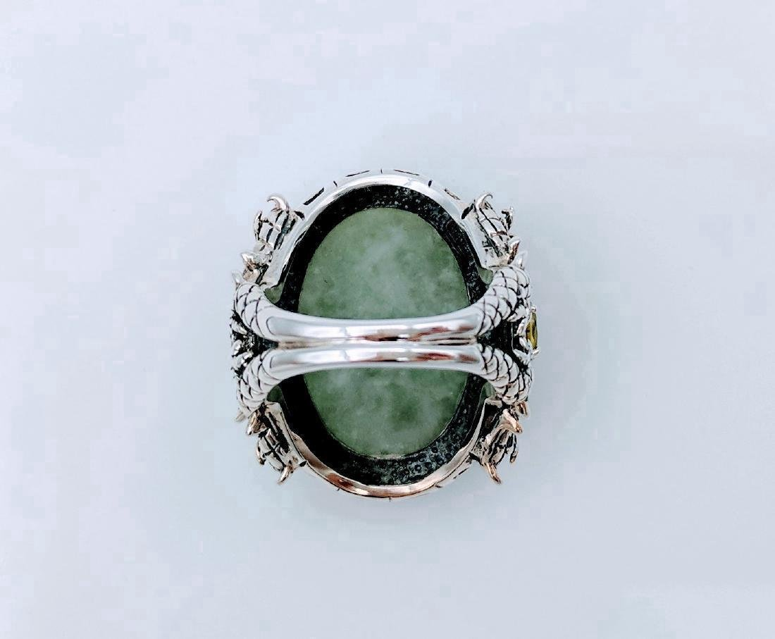 Sterling Silver Jade Peridot Figural Dragon Ring .42ctw - 4