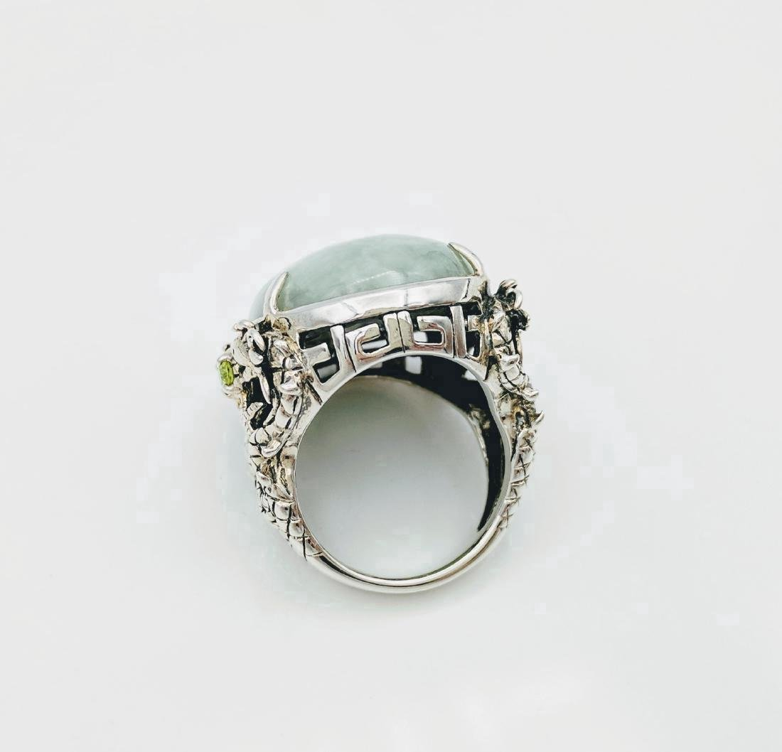 Sterling Silver Jade Peridot Figural Dragon Ring .42ctw - 5