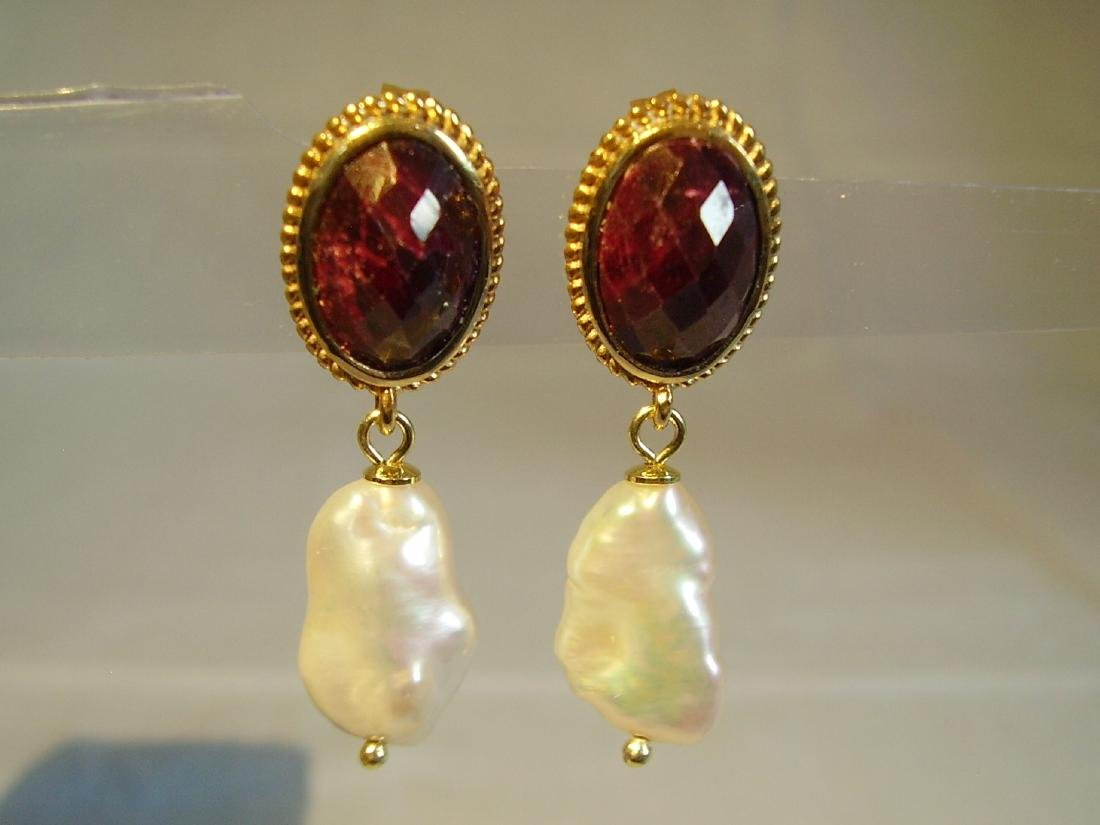 Sterling Silver Ruby earrings with white Keshi pearls