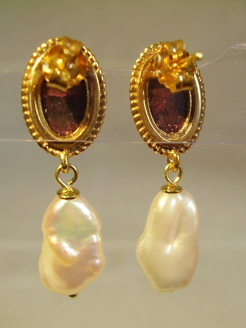Sterling Silver Ruby earrings with white Keshi pearls - 3