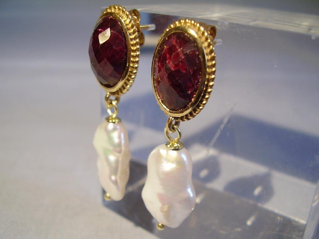 Sterling Silver Ruby earrings with white Keshi pearls - 5