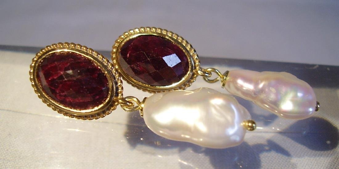 Sterling Silver Ruby earrings with white Keshi pearls - 6