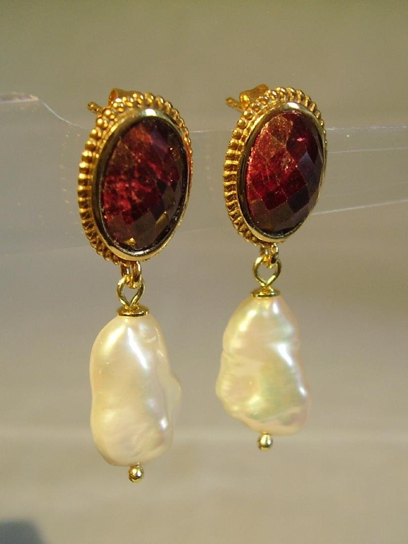 Sterling Silver Ruby earrings with white Keshi pearls - 7