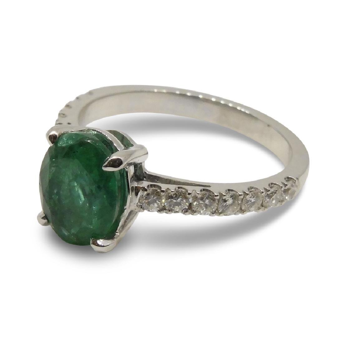 14K White Gold Emerald Diamond Ring, 1.82ct - 10