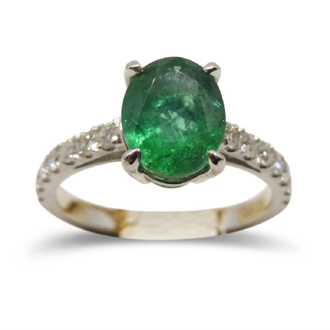 14K White Gold Emerald Diamond Ring, 1.82ct