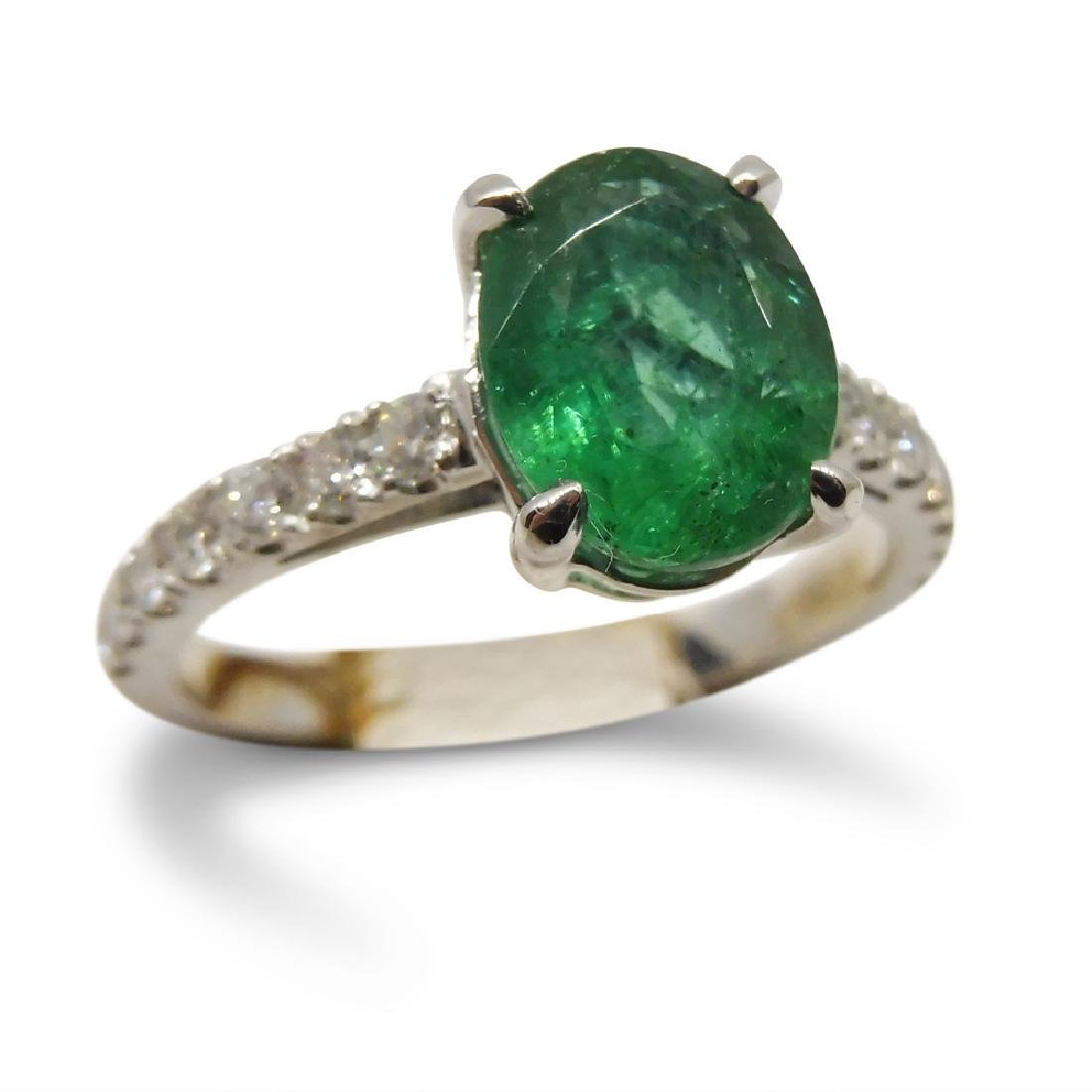 14K White Gold Emerald Diamond Ring, 1.82ct - 2