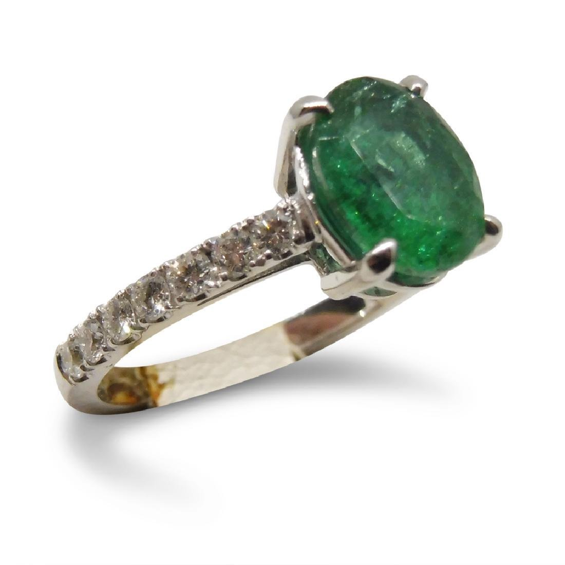 14K White Gold Emerald Diamond Ring, 1.82ct - 3
