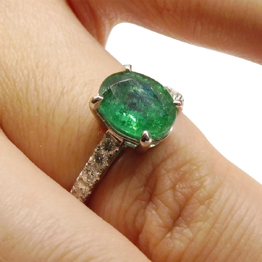14K White Gold Emerald Diamond Ring, 1.82ct - 5