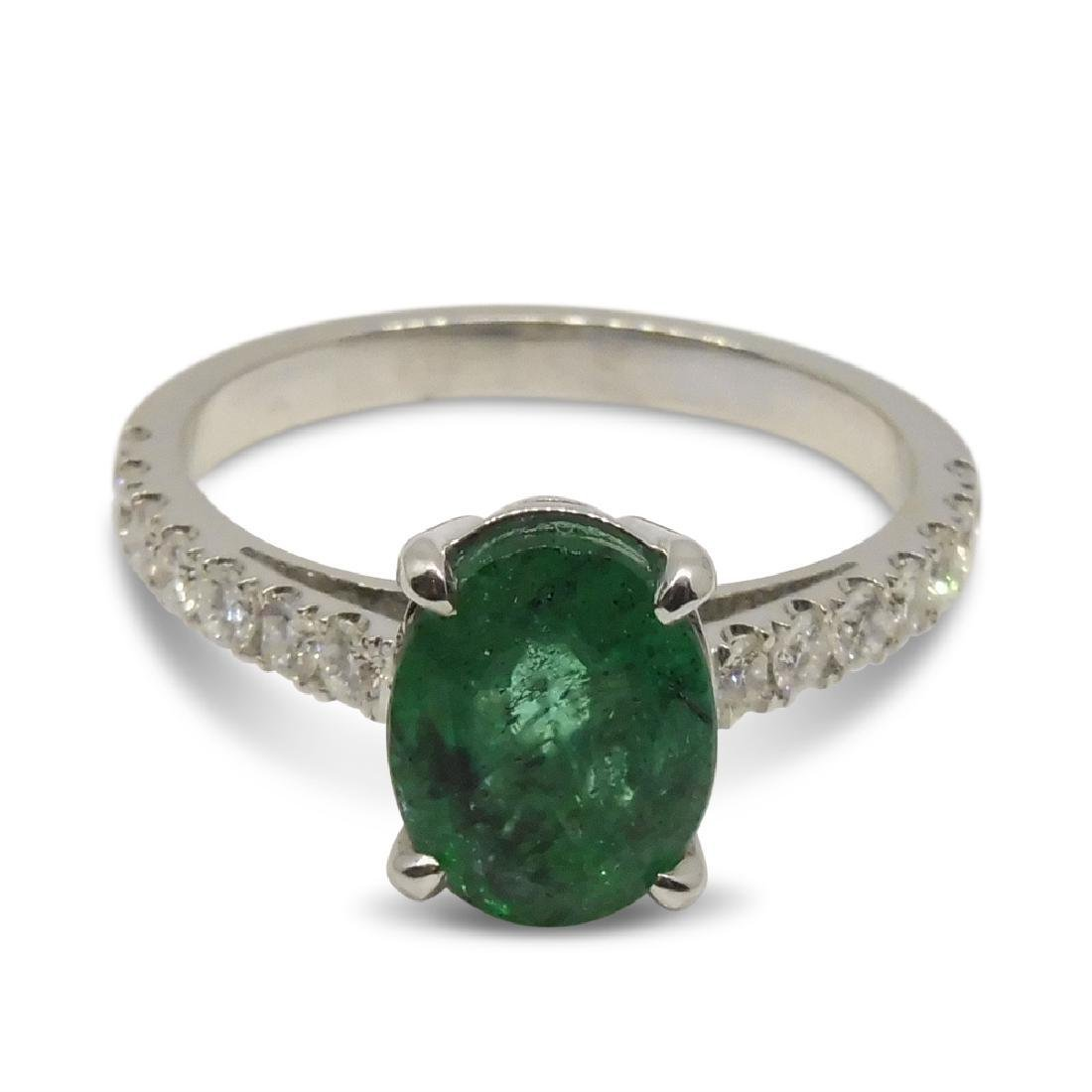 14K White Gold Emerald Diamond Ring, 1.82ct - 6