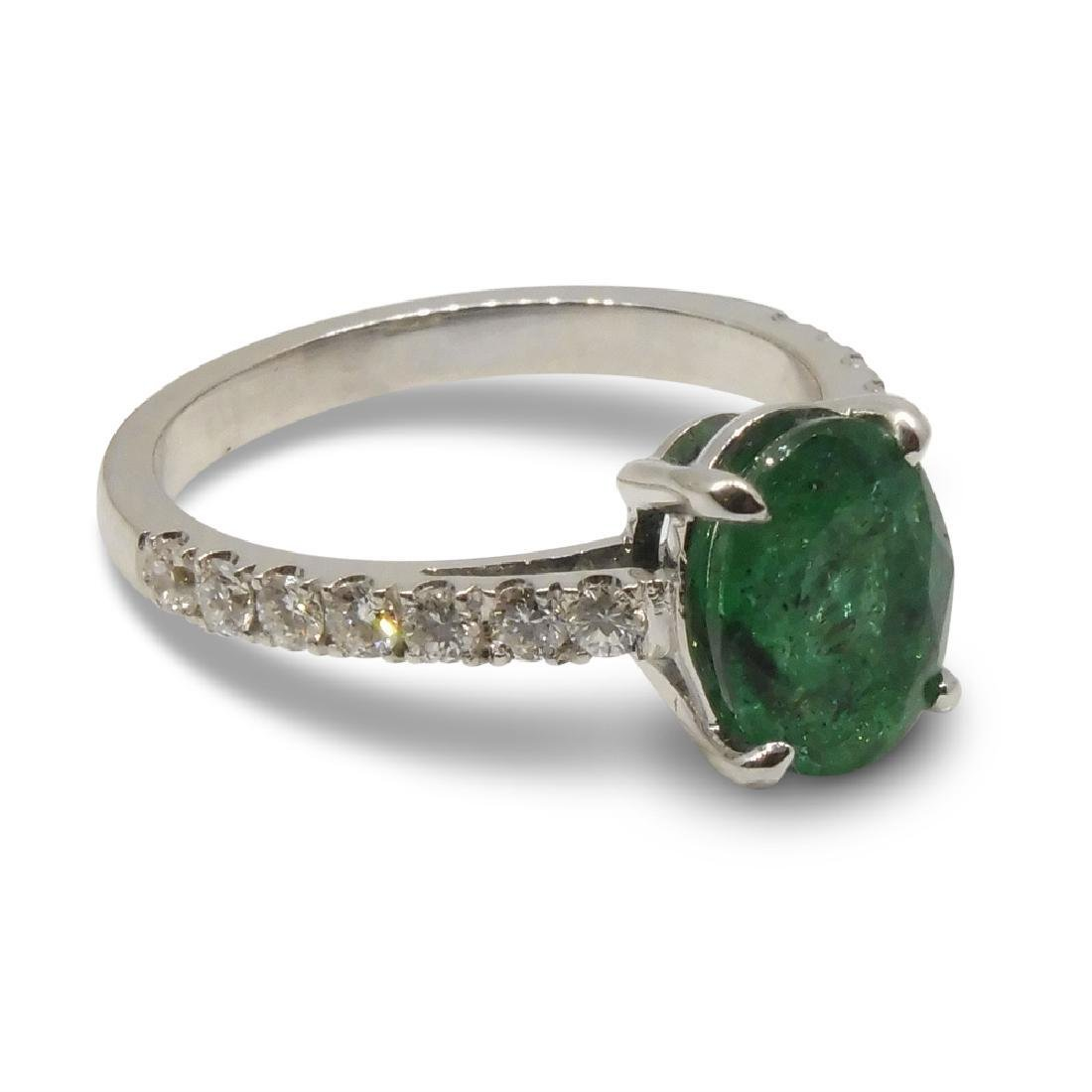 14K White Gold Emerald Diamond Ring, 1.82ct - 7