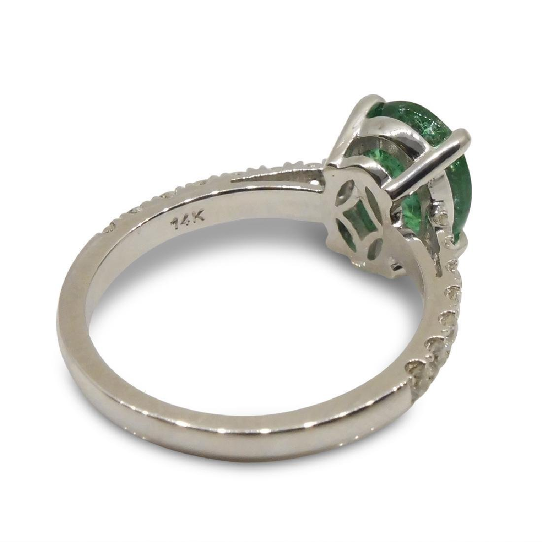 14K White Gold Emerald Diamond Ring, 1.82ct - 8