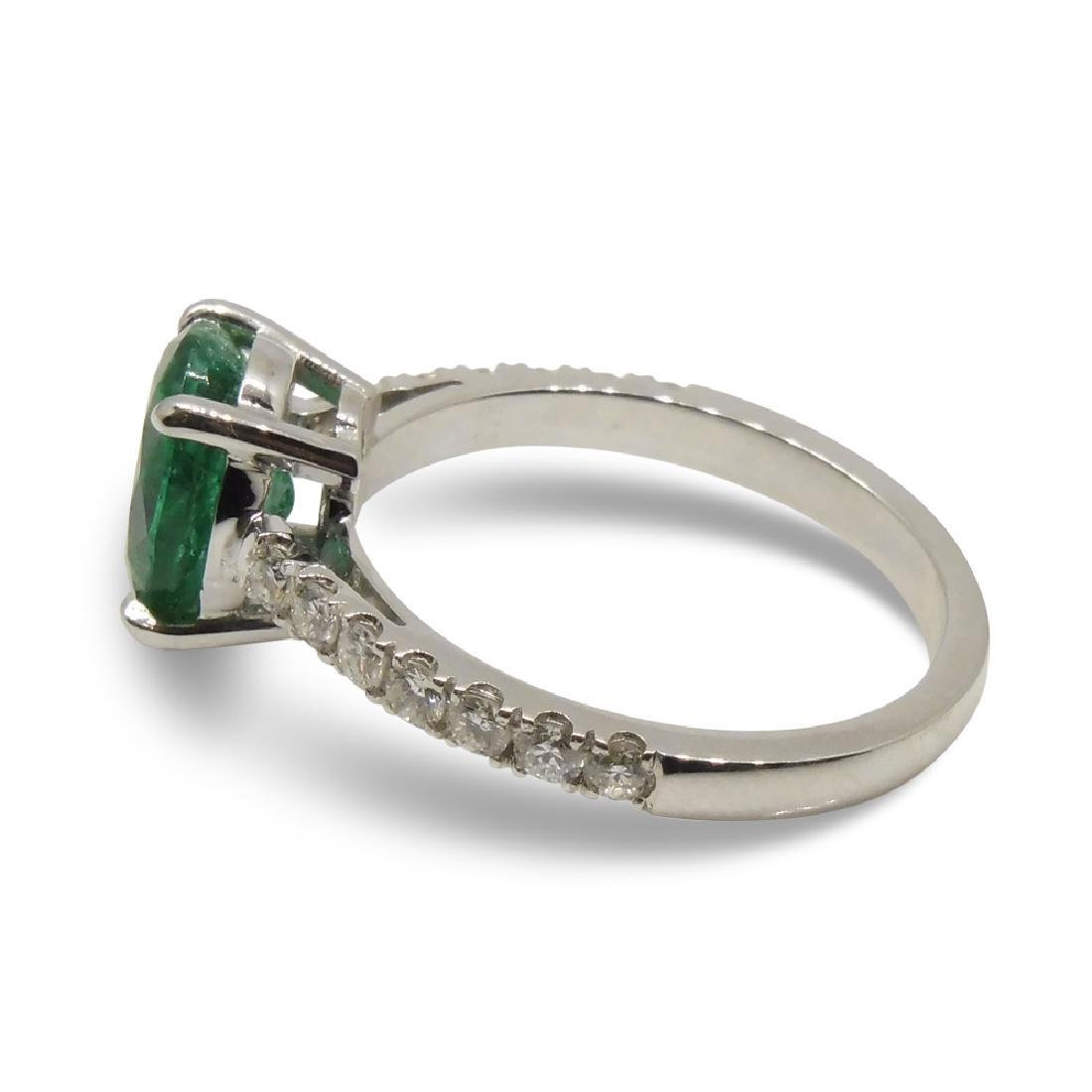 14K White Gold Emerald Diamond Ring, 1.82ct - 9