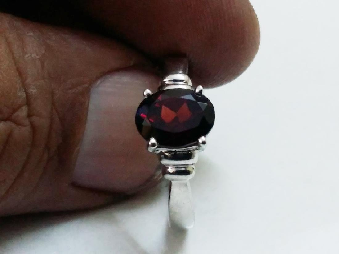 925 Sterling Silver Ring with Natural Hessonite Garnet - 3