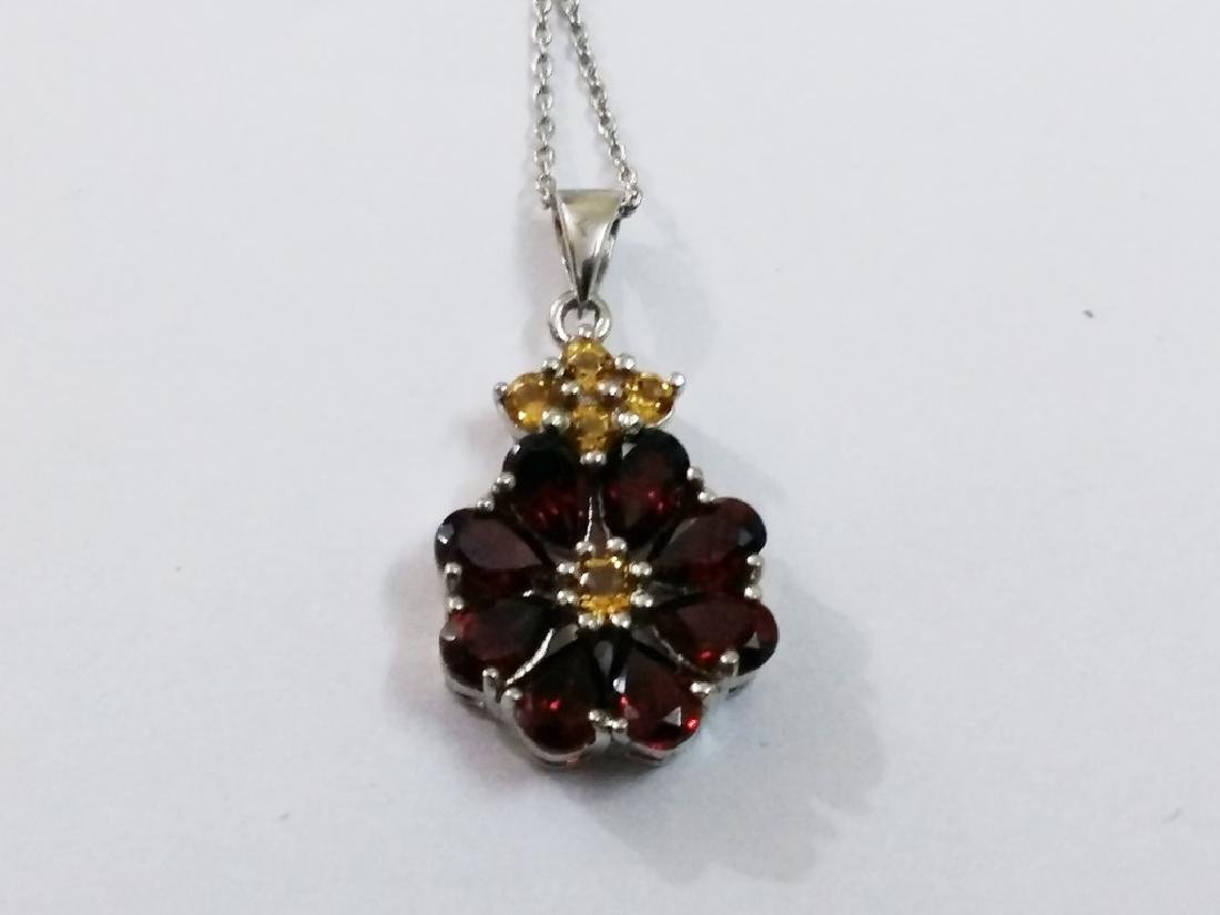 925 Sterling Silver Pendant with Natural Garnet and - 2