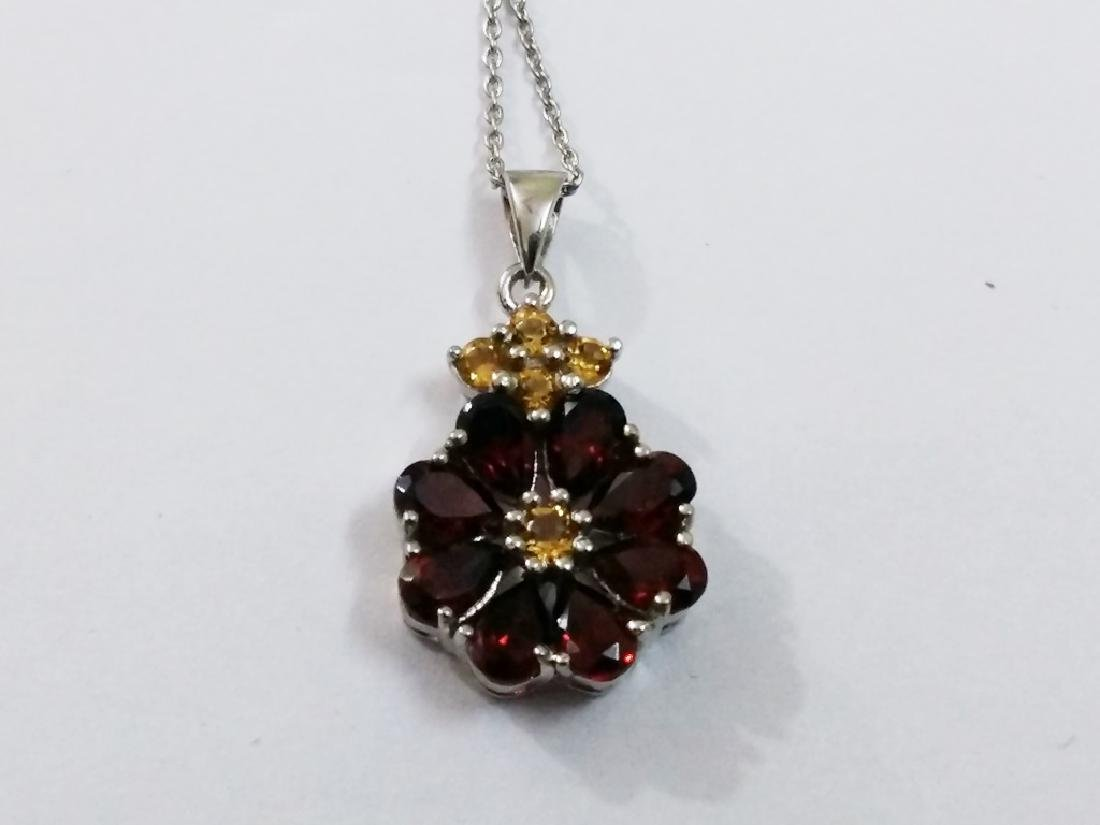 925 Sterling Silver Pendant with Natural Garnet and - 3