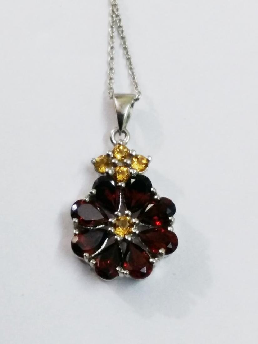 925 Sterling Silver Pendant with Natural Garnet and - 4