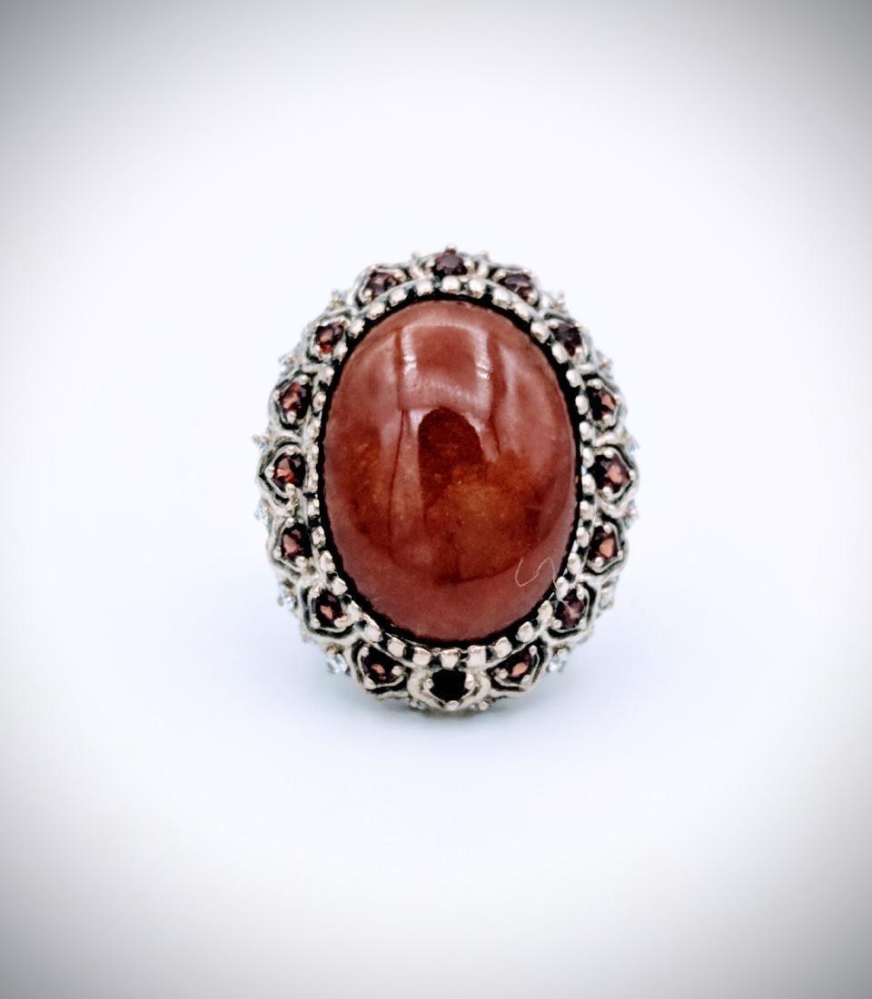 Sterling Silver Victorian Style Jasper Garnet Ring