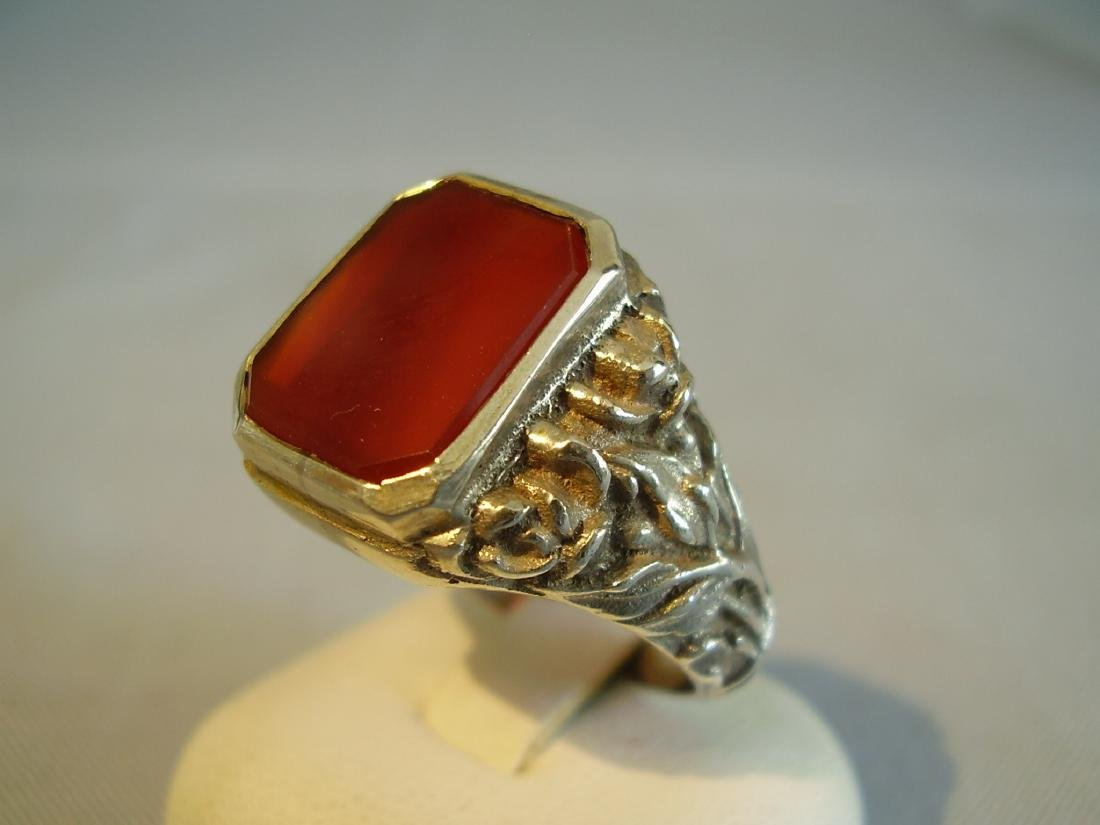 Antique 835 Silver mens ring with carnelian